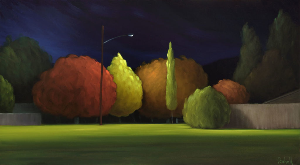 17-26 Evening At The Park 22x40 oil on canvas