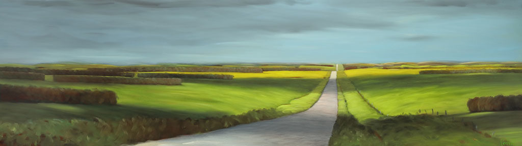 18-41 Wind Break and Canola 24x84 oil on canvas revision