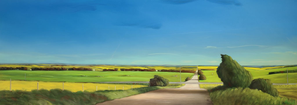 18-42 Blacktop and Gravel 26x72 oil on canvas revision
