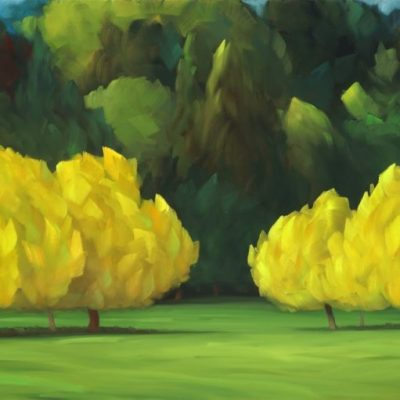 21-32 The Gathering 30x60 oil on canvas